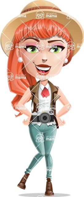 Cartoon Adventure Girl Cartoon Vector Character - Camera