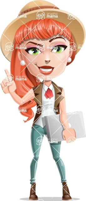 Cartoon Adventure Girl Cartoon Vector Character - Closed laptop