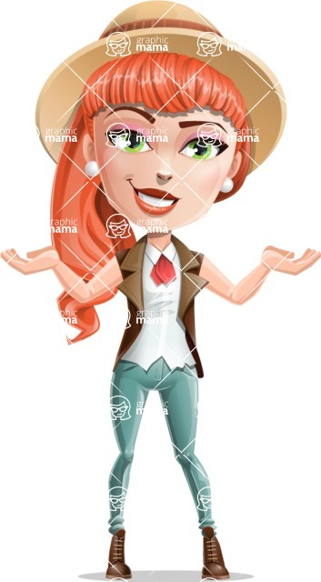 Cartoon Adventure Girl Cartoon Vector Character - Showcase 2