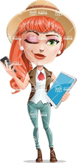 Cartoon Adventure Girl Cartoon Vector Character - Phone and tablet