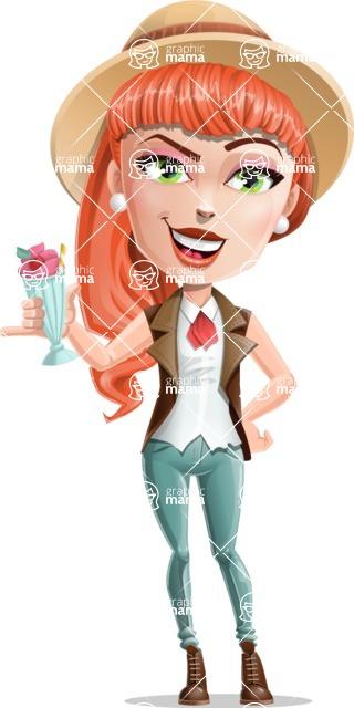 Cartoon Adventure Girl Cartoon Vector Character - Drink