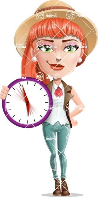 Cartoon Adventure Girl Cartoon Vector Character - Time