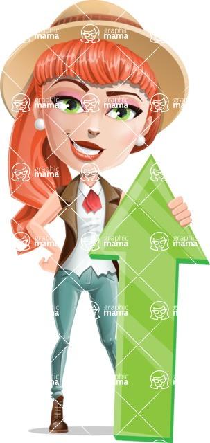 Cartoon Adventure Girl Cartoon Vector Character - Arrow 1