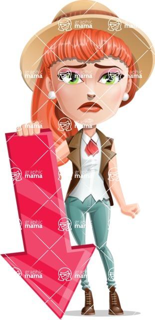 Cartoon Adventure Girl Cartoon Vector Character - Arrow 3