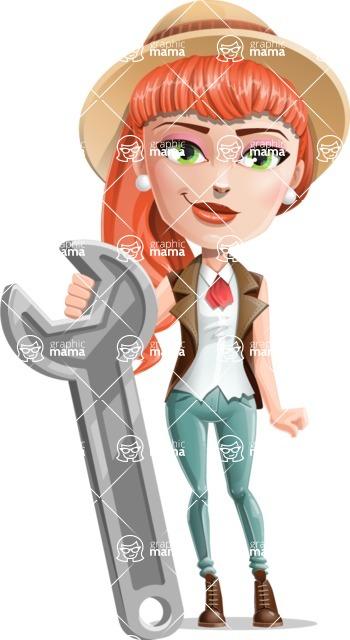 Cartoon Adventure Girl Cartoon Vector Character - Repair