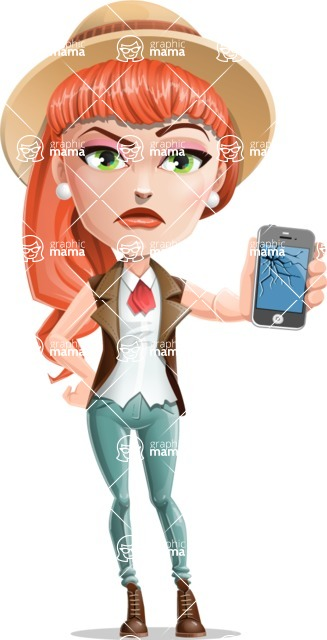 Cartoon Adventure Girl Cartoon Vector Character - Broken