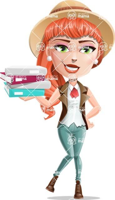 Cartoon Adventure Girl Cartoon Vector Character - Book 1