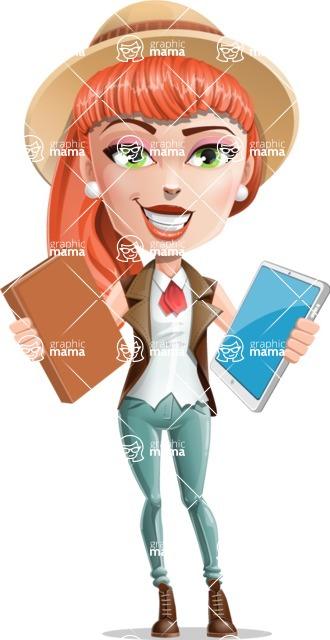 Cartoon Adventure Girl Cartoon Vector Character - Book or Tablet