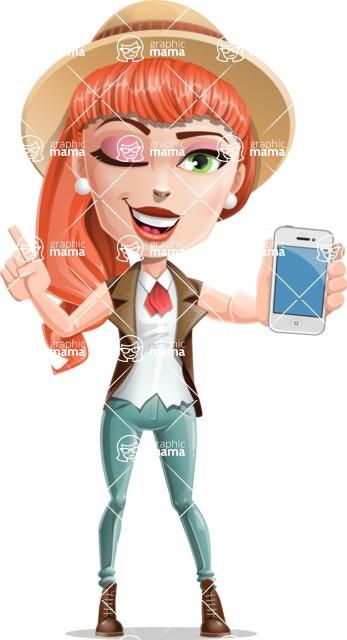 Cartoon Adventure Girl Cartoon Vector Character - IPhone