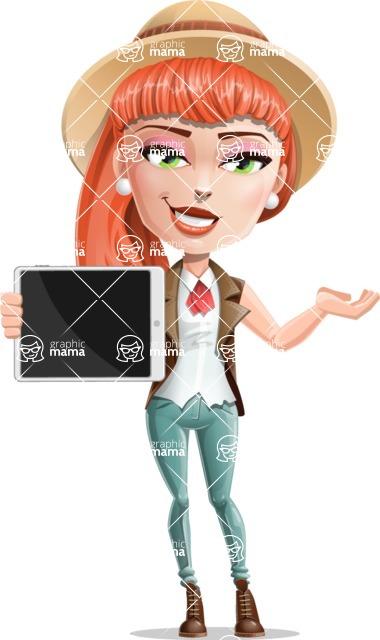 Cartoon Adventure Girl Cartoon Vector Character - Tablet 1