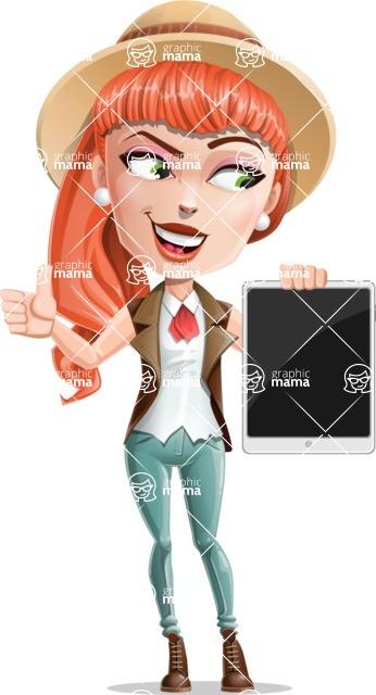 Cartoon Adventure Girl Cartoon Vector Character - Tablet 2