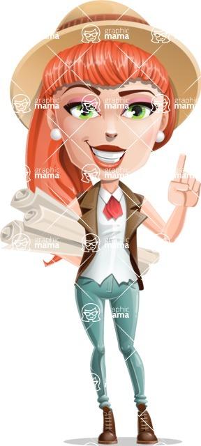 Cartoon Adventure Girl Cartoon Vector Character - Plans
