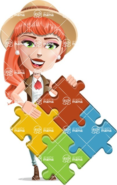 Cartoon Adventure Girl Cartoon Vector Character - Puzzle