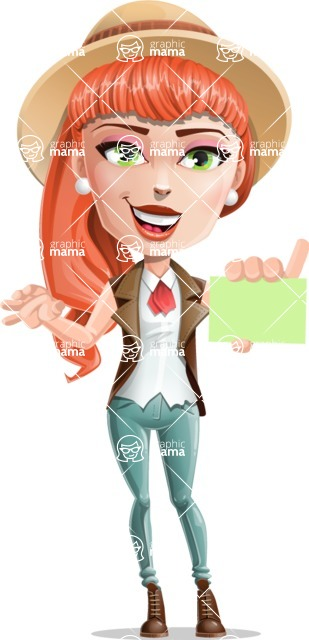 Cartoon Adventure Girl Cartoon Vector Character - Sign 1