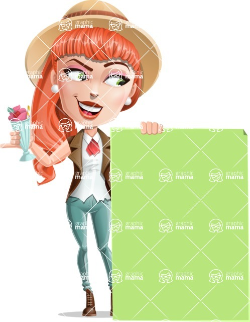 Cartoon Adventure Girl Cartoon Vector Character - Sign 6