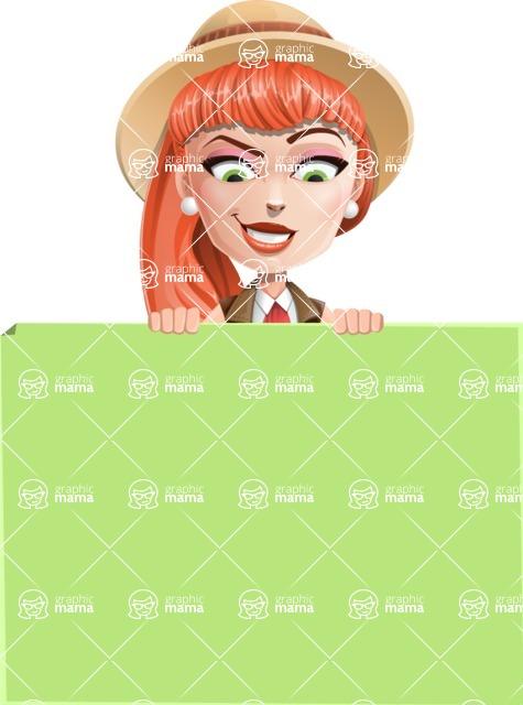 Cartoon Adventure Girl Cartoon Vector Character - Sign 7