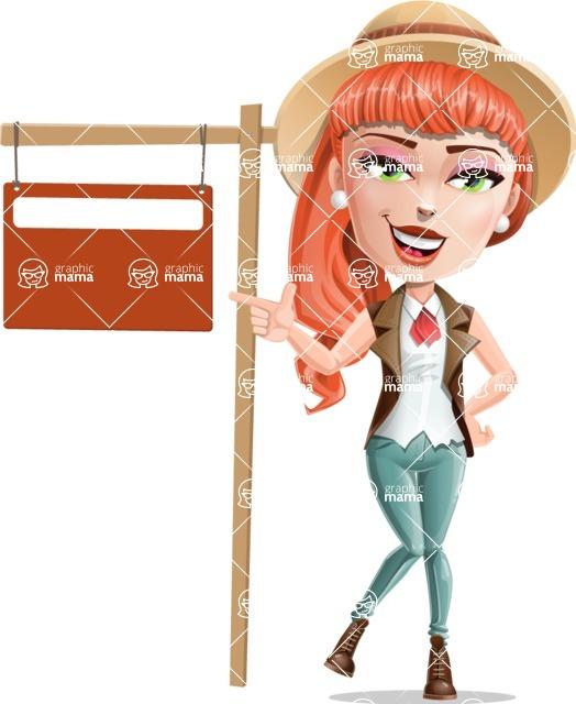Cartoon Adventure Girl Cartoon Vector Character - Street Sign