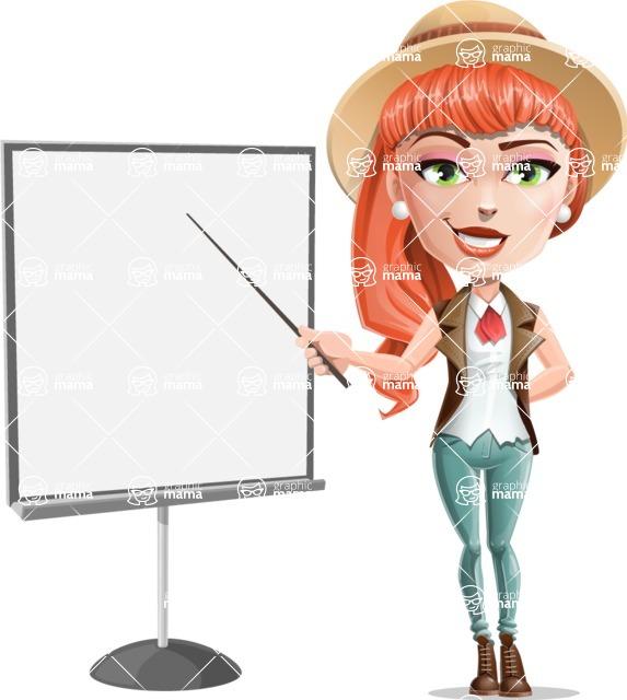Cartoon Adventure Girl Cartoon Vector Character - Presentation 1