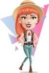 Cartoon Adventure Girl Cartoon Vector Character AKA Adeline - Shape 7