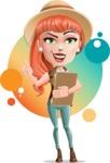 Cartoon Adventure Girl Cartoon Vector Character AKA Adeline - Shape 11