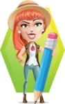 Cartoon Adventure Girl Cartoon Vector Character - Shape 12