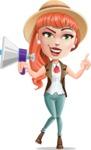 Cartoon Adventure Girl Cartoon Vector Character - Loudspeaker