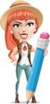 Cartoon Adventure Girl Cartoon Vector Character AKA Adeline - Pencil