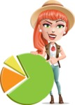 Cartoon Adventure Girl Cartoon Vector Character - Chart