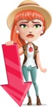 Cartoon Adventure Girl Cartoon Vector Character - Arrow 3