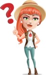 Cartoon Adventure Girl Cartoon Vector Character - Question