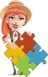 Cartoon Adventure Girl Cartoon Vector Character - Puzzle