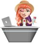 Cartoon Adventure Girl Cartoon Vector Character - Desk