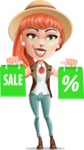 Cartoon Adventure Girl Cartoon Vector Character - Sale 1