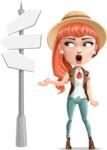 Cartoon Adventure Girl Cartoon Vector Character - Crossroad