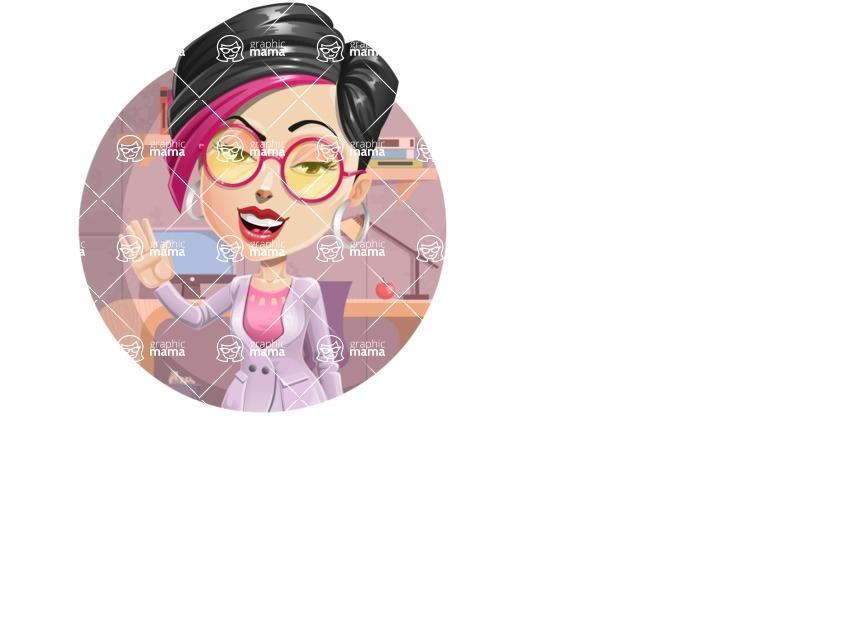 Hipster Girl Cartoon Vector Character AKA Milly - Shape 1
