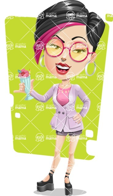 Hipster Girl Cartoon Vector Character AKA Milly - Shape 8