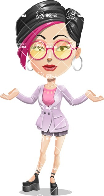 Hipster Girl Cartoon Vector Character AKA Milly - Confused