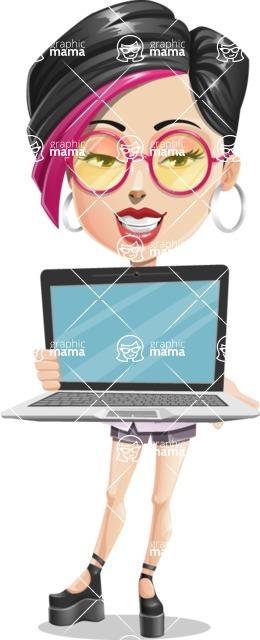 Hipster Girl Cartoon Vector Character AKA Milly - Laptop 2
