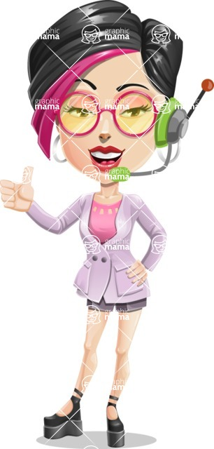 Hipster Girl Cartoon Vector Character AKA Milly - Support 1