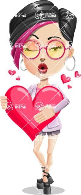 Hipster Girl Cartoon Vector Character AKA Milly - Love