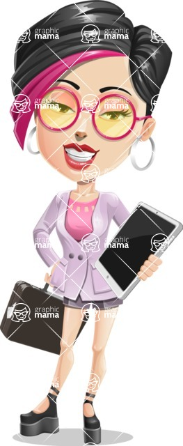 Hipster Girl Cartoon Vector Character AKA Milly - Bag and tablet