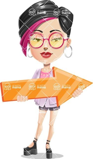 Hipster Girl Cartoon Vector Character AKA Milly - Arrow 2