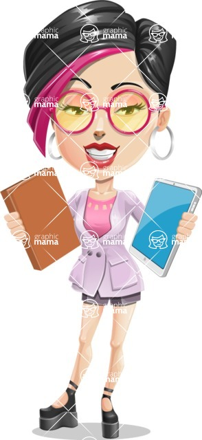 Hipster Girl Cartoon Vector Character AKA Milly - Book or Tablet