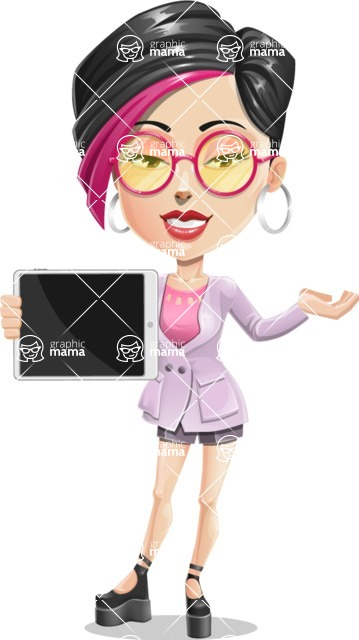 Hipster Girl Cartoon Vector Character AKA Milly - Tablet 1