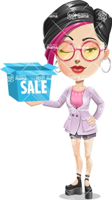 Hipster Girl Cartoon Vector Character AKA Milly - Sale 2