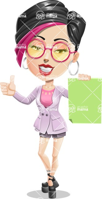 Hipster Girl Cartoon Vector Character AKA Milly - Sign 2