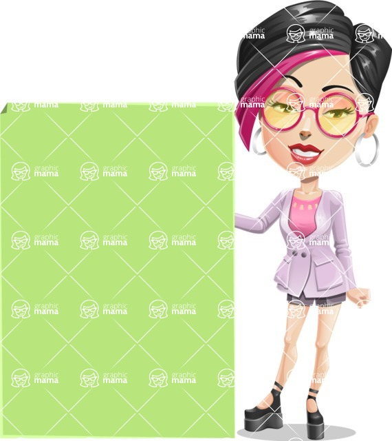 Hipster Girl Cartoon Vector Character AKA Milly - Sign 8