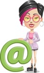 Hipster Girl Cartoon Vector Character AKA Milly - E-mail