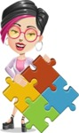 Hipster Girl Cartoon Vector Character AKA Milly - Puzzle