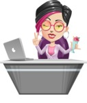 Hipster Girl Cartoon Vector Character AKA Milly - Desk